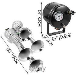Air Horn Truck Train Horns Kit 110 Psi Avec Compresseur D'air 2l 4 Trompettes 150db