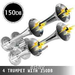 Air Horn Truck Train Horns Kit 12 Volt Avec Compresseur D'air De 5,4 L 4 Trompette 150db
