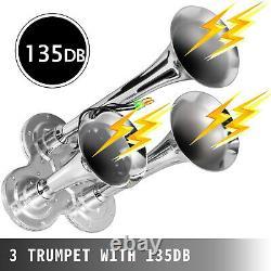 Air Horn Truck Train Horns Kit 150 Psi Avec Compresseur D'air 2l 3 Trompettes 135db