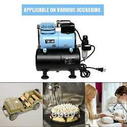 Airbrush System Kit 4 Airbrushes Air Compressor Tank T-shirt Hobby Cake Tattoo