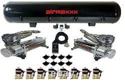Airmaxxx Chrome 480 Compresseurs D'air 1/2 Valves Air Ride Black 7 Switch Tank