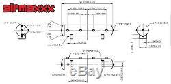 Airmaxxx Chrome Double Compresseur Fil Kit 5 Ports Acier Gallon 9 Réservoir Air Ride