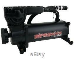 Airmaxxx Noir Double Compresseur Fil Kit 5 Ports Acier Gallon 9 Réservoir Air Ride