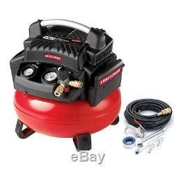 Artisan 6 Gallon 1.1 HP 150 Psi Compresseur Pancake Sans Huile Avec Tuyau Et Kit