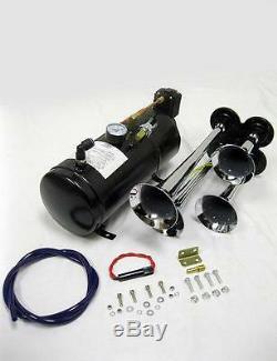 Chrome Quad 4 Trompette Train Kit Air Horn + 150psi Compresseur De Semi Bateau 150db