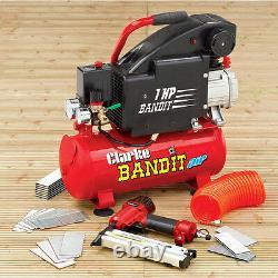 Clarke Bandit 4 Compresseur D'air 8 Litres + Nail / Stapler Kit