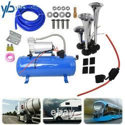 Compresseur Blue 4 Trompette Air Horn Kit Tank Gauge Pour Camion De Train De Voiture 12v