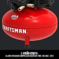 Compresseur D'air Craftsman, 6 Gallons, Crêpe, Sans Huile Avec Kit Accessoire 13 Pièces