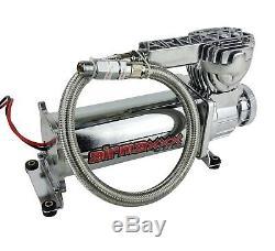 Compresseur De Suspension Pour Sacs Gonflables 580 Chrome 180psi Avec Interrupteur De Pression Et Filtre