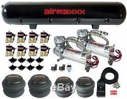 Compresseurs D'air Chromés Airmaxxx 480 1/2 Vannes 2500 Et 2600, Réservoir À 7 Commutateurs, Noir