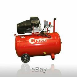Crytec Compresseur D'air 100 Litres 3hp 8bar 5pc Spray Kit