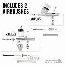 Ensemble De 2 Compresseurs D'air Master Airbrush, Ensemble De 6 Artistes En Couleurs Acryliques Primaires