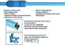 F28075 Fastpipe 3/4 Aluminium Air Comprimé Tubes 100 Ft Kit Maître Tuyauterie D'air