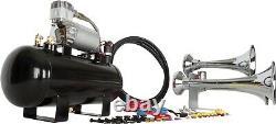 Hornblasters Outlaw Chrome 127h Loud Train Air Horn Kit Avec Compresseur 275c
