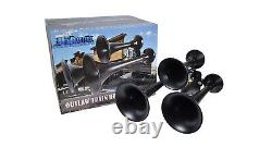 Hornblasters Outlaw Noir 228h Fort Train Kit Air Horn Pour Le Camion Avec Compresseur