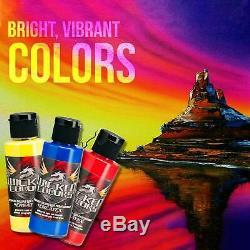 Maître Airbrush Compresseur D'air Kit 3 Tip Airbrush 12 Createx Wicked Peinture Couleurs
