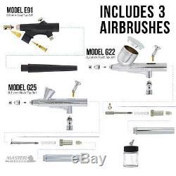 Master 3 Airbrush, Compresseur D'air Et Ensemble De Boyaux, 6 Couleurs Primaires Peinture Acrylique Set
