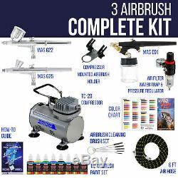 Master 3 Airbrush, Compresseur D'air Et Kit De Tuyau, Kit De Peinture Acrylique 6 Couleurs Primaires