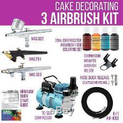 Master 3 Airbrush, Compresseur D'air Kit De Décoration De Gâteau, 4 Chefmaster Couleurs Alimentaires