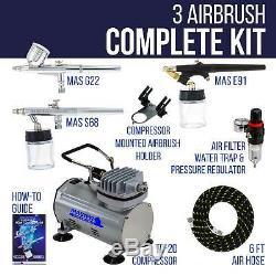 Master 3 Airbrush Compresseur D'air Kit, Hobby, Auto, Gâteau Tattoo Art Peinture Tanning