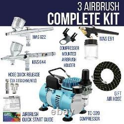 Master 3 Airbrush Et Air Fine Detail Compresseur Kit 0.3mm Gravity, Siphon