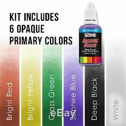 Master 3 Airbrush, Kit Compresseur D'air, Kit De Peinture Acrylique Avec Support 6 Couleurs Primaires