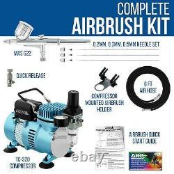 Master Airbrush Air Compressor Kit, Gravity Feed Set 3 Tip Sets 0.2, 0.3, 0.5mm
