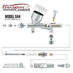 Master Airbrush Air Tank Compressor Kit, G44 Fine Detail 0.2 MM Gravity Airbrush