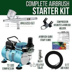 Master Airbrush Kit Compresseur D'air Avec G233 Gravity Feed Airbrush 3 Tip Pro Set
