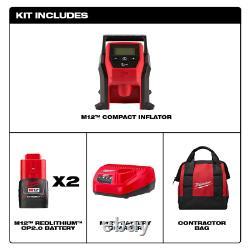 Milwaukee 2475-20 M12 Kit De Compresseur D'air De Pneu De Voiture Portable Sans Fil