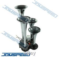 New 4 Trompette Chrome Train Air Horn Avec 150 Psi 3 Litres 12v Compresseur D'air