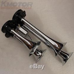 Nouveau 150 Psi 3 Litres 12v Compresseur D'air Avec 4 Trompette Chrome Train Air Horn