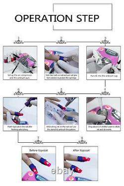 Ophir Nail Airbrush Kit D'alimentation D'air Brosse Compresseur Avec 12x Encres À Ongles Pour Ongles