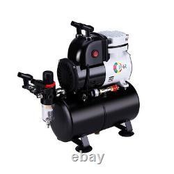 Ophir Professional 3x Airbrush Compressor Kit & Air Tank Avec Peinture Acrylique 12x