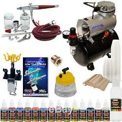 Paasche VL Set Airbrush System Compresseur D'air 12 Couleurs Kit De Peinture Cleaner Hobby