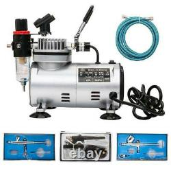 Portable 3 Airbrush Kit Compresseur À Double Action Air Spray Brosse Tattoo Nail Outil