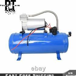 Pour Wagon Train Truck 4 Trumpet Air Horn 12v Compresseur Kit Blue Tank Gauge