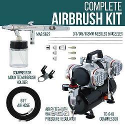 Pro Set 3 Conseils. 3.5.8 Siphon À Double Action Airbrush Kit 4 Piston Compresseur D'air