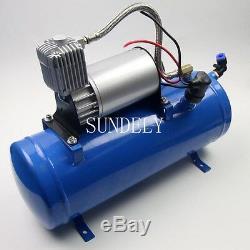 Rapide 4 Trompette Véhicule Air Horn / 12 Volt 6 Litres Compresseur & Tuyau 150 Psi Kit