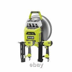 Ryobi 6 Gallon Electric Pancake Compressor Nailer Tool Combo Kit Avec 2 Nailers