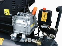 Switzer Compresseur D'air 24l Litres 2hp 8 Bar 230v Avec Roue 5pcs Kits Ac009 Gris