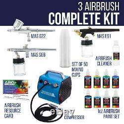 Système Airbrush Pro Avec 3 Aérographes Deluxe Compresseur D'air Et 6 Couleurs De Peinture