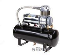 Train Air Horn Kit Quatre Trompettes Avec 12 Volt Heavy Duty 150 Psi Compresseur