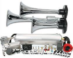 Triple Trompette Train Air Horn Avec Viair 150psi 275c Compresseur 2.5g Kit Complet