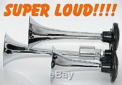 Triple Trompette Train Air Horn Viair Compresseur 1/2 Gal 120psi. Tank Kit Loudest