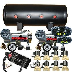 V Dual Airbagit Dc100 3/8 Valves Air Bag Management 5-gal 7 Switch Double Jauges