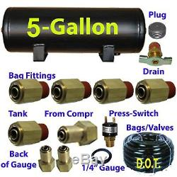 V Xfitx 5 Gal Réservoir D'air Fits Interrupteur De Pression 1/4 / 3/8 Airhose