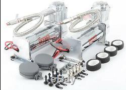 Viair Double Chrome 444c 200 Psi Max Kit Compresseur D'air Gratuit Relais Et Commutateur Psi